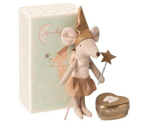 Maileg Myszka - Tooth fairy, Big sister mouse w. metal box 16-0730-01